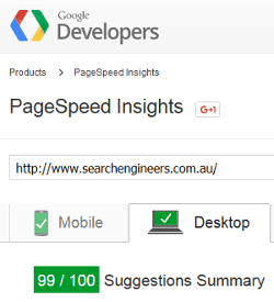 Google PageSpeed report for www.searchengineers.com.au